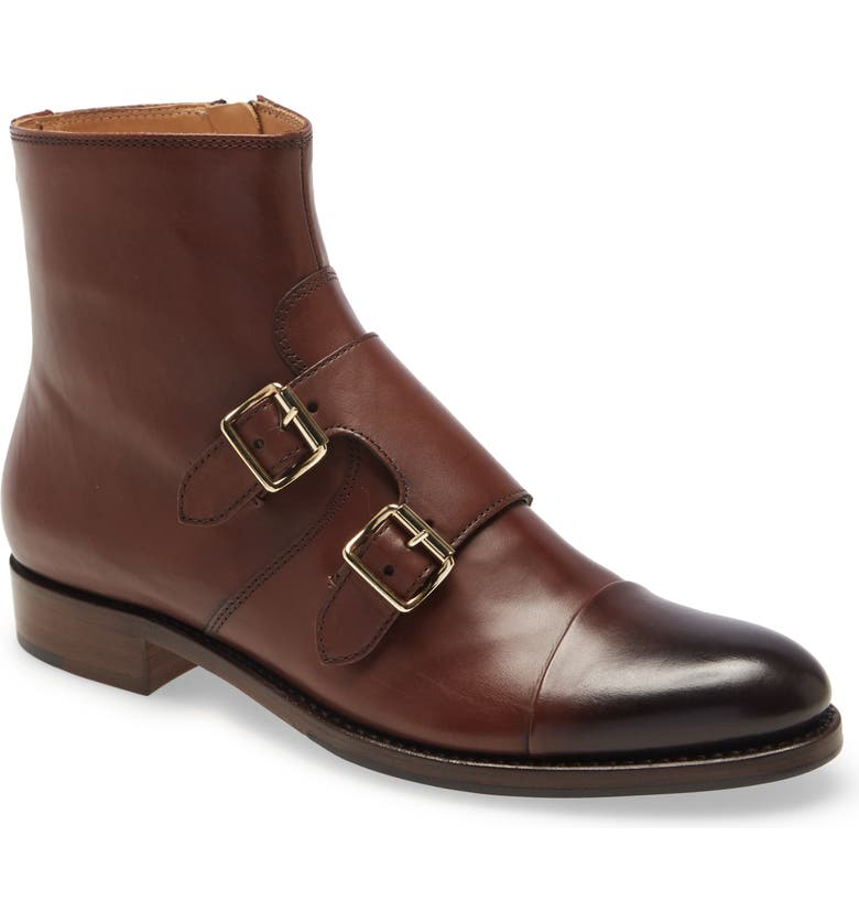THE OFFICE OF ANGELA SCOTT Mr. Dean Double Monk Strap Boot, Main, color, WALNUT