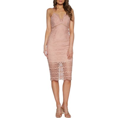 Bardot Percy Lace Cocktail Dress, Pink