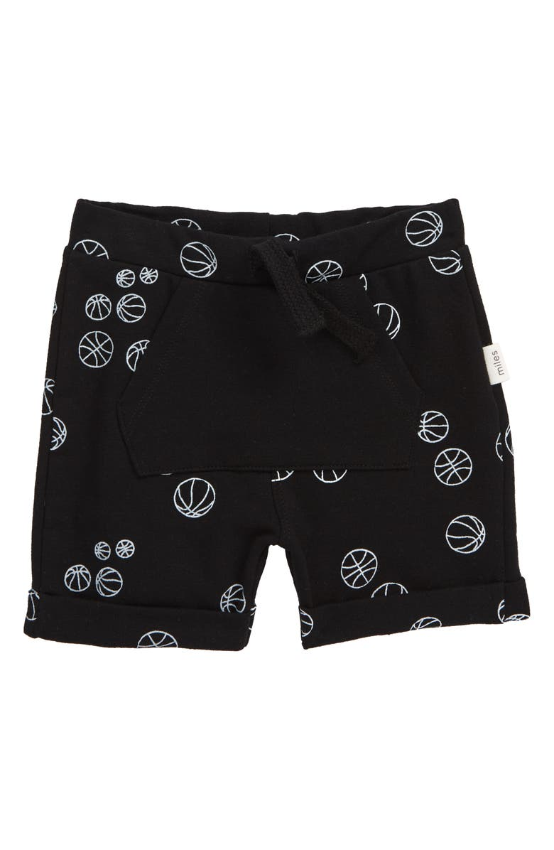 MILES baby Basketball Shorts, Main, color, BLACK