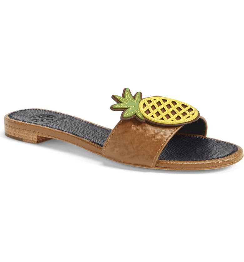 TORY BURCH Pineapple Leather Slide Sandal, Main, color, 266