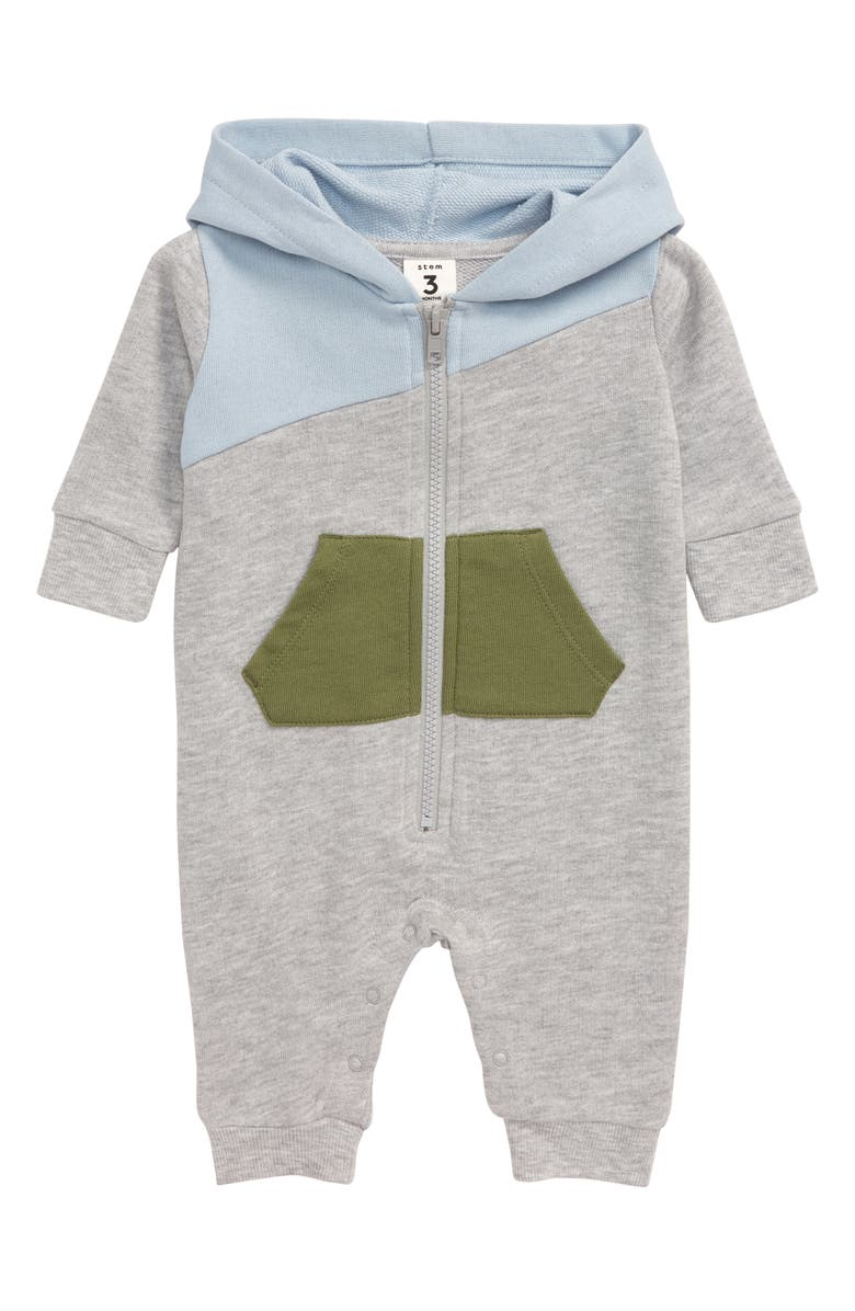 STEM Mix Colorblock Hooded Romper, Main, color, GREY ASH HEATHER MULTI