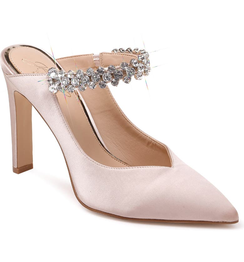 JEWEL BADGLEY MISCHKA Stella Crystal Mule Pump, Main, color, CHAMPAGNE SATIN