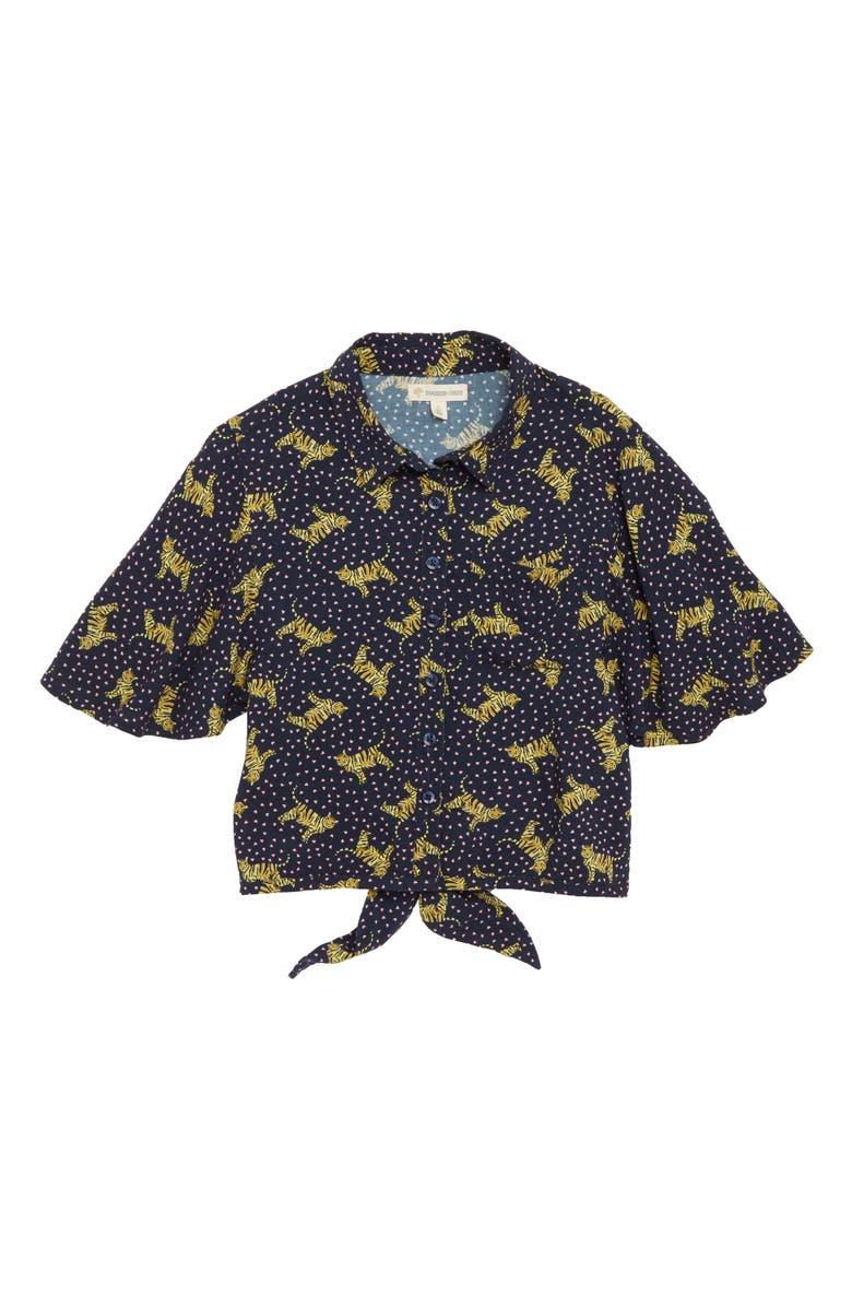 TUCKER + TATE Print Tie Back Shirt, Main, color, 410