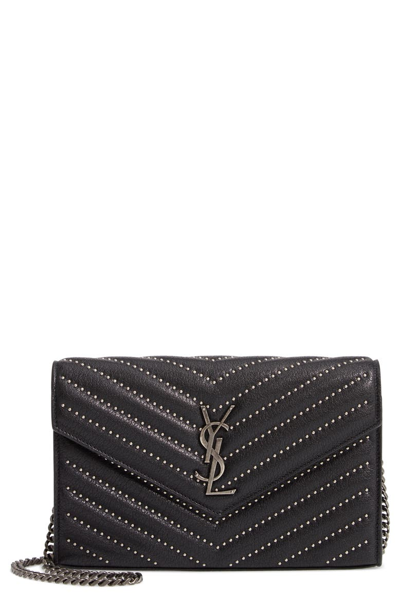 SAINT LAURENT Quilted Leather Wallet on a Chain, Main, color, 001