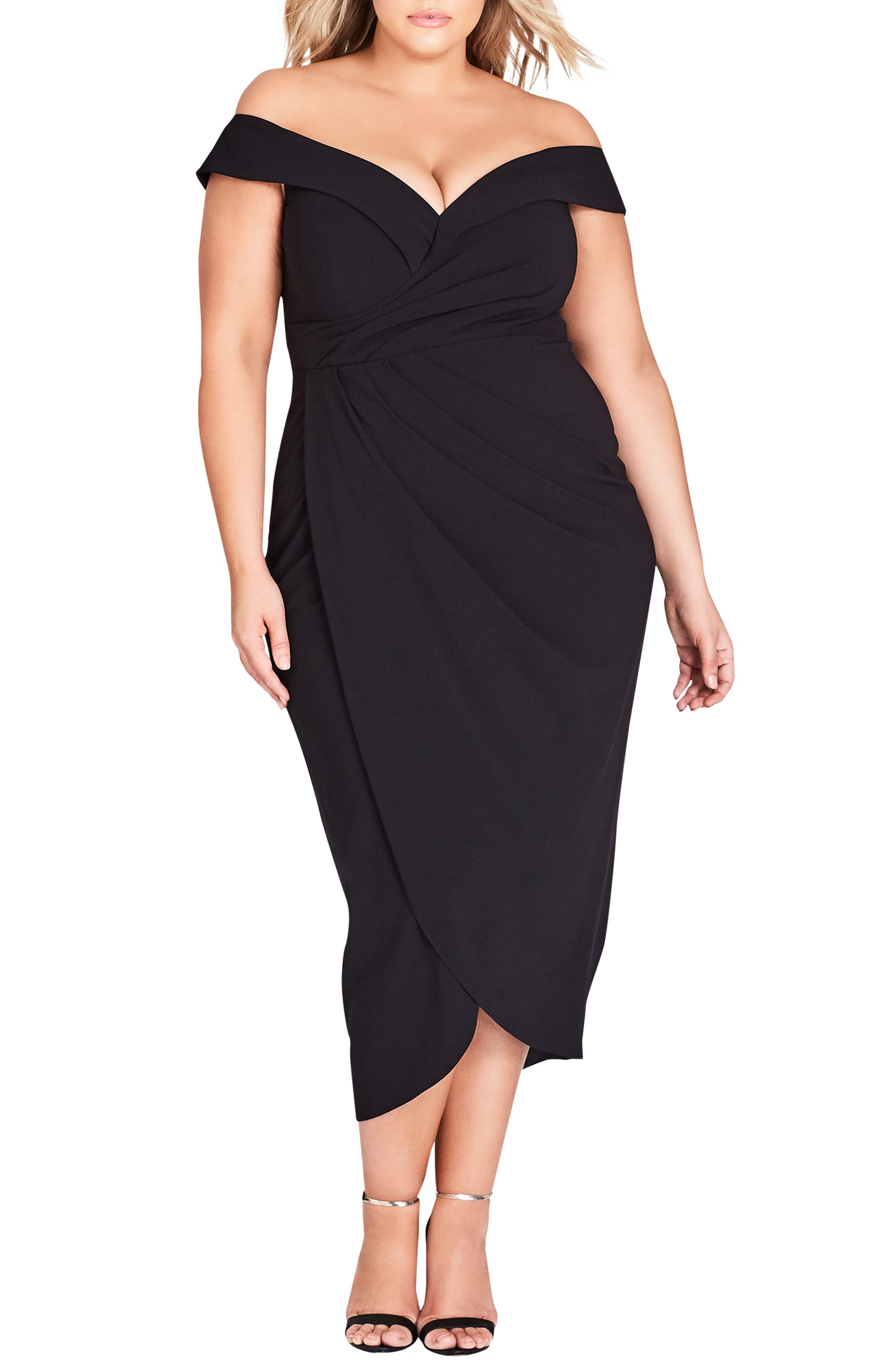 Plus Size City Chic Rippled Love Off The Shoulder Sheath Dress, Black