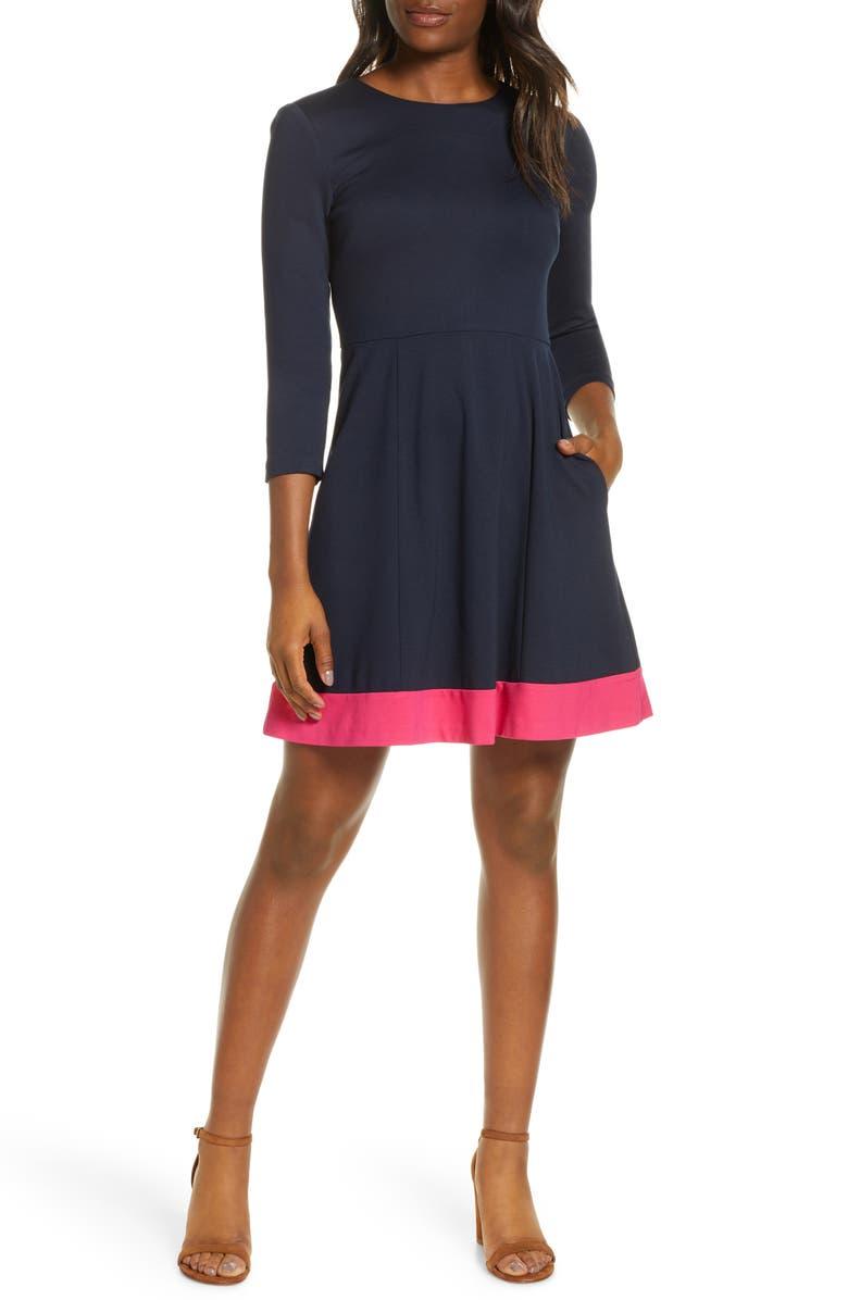 ELIZA J Contrast Hem Fit & Flare Dress, Main, color, NAVY