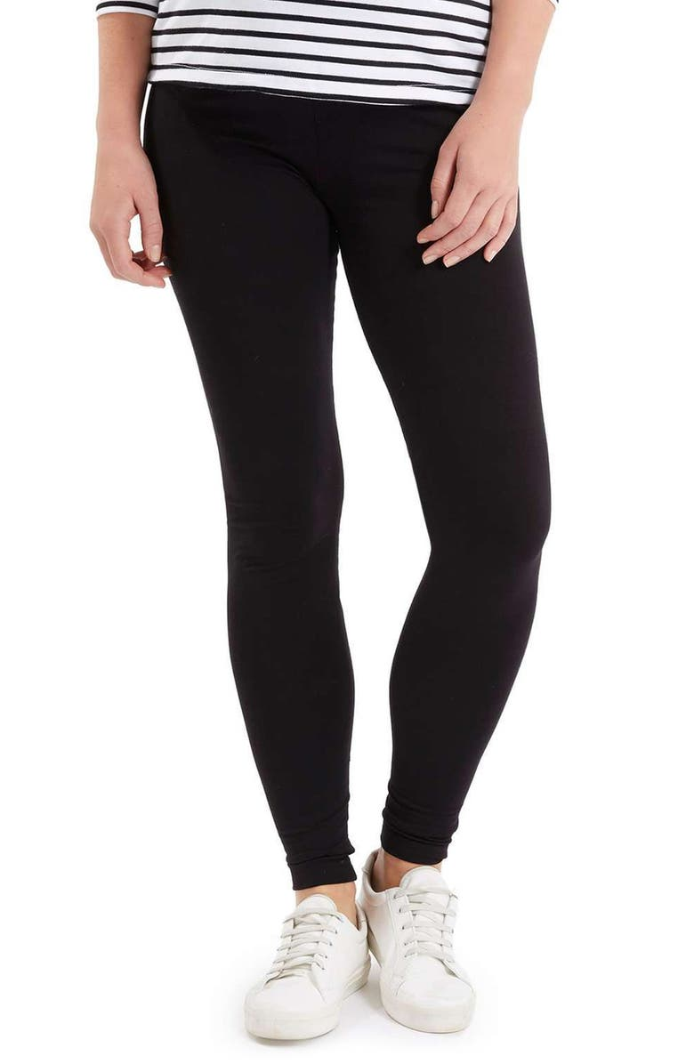 TOPSHOP Ankle Maternity Leggings, Main, color, BLACK