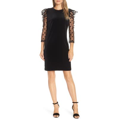 Julia Jordan Dot Mesh Sleeve Velvet Shift Dress