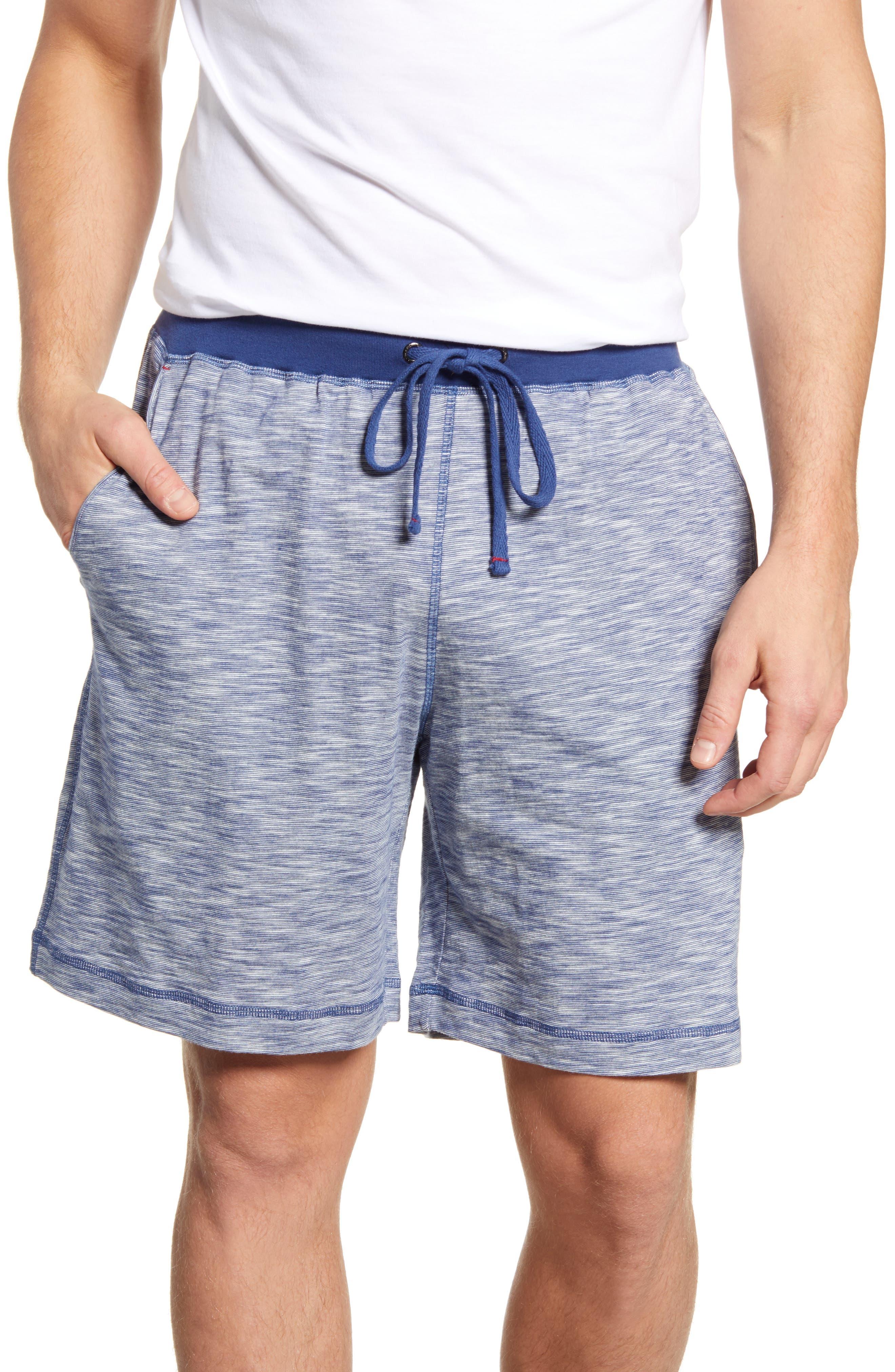 Daniel Buchler Slub Cotton Pajama Shorts, Blue