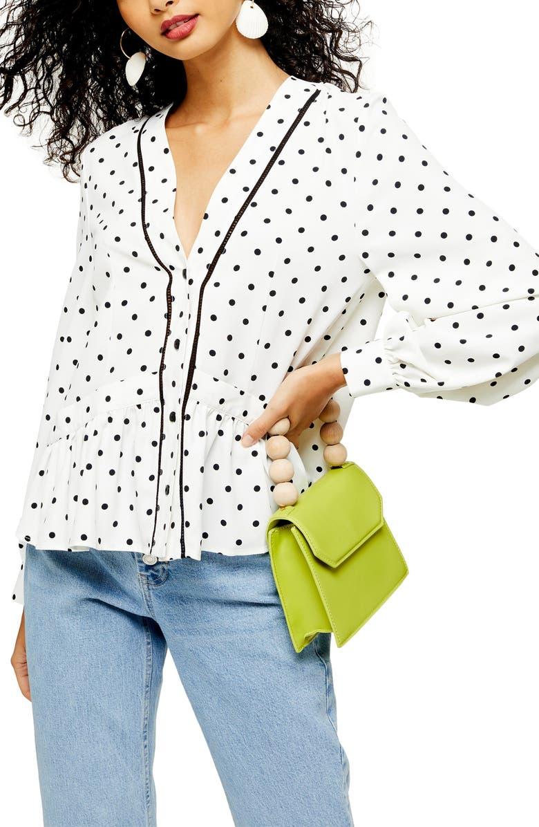 TOPSHOP Spot Print & Ladder Trim Shirt, Main, color, WHITE MULTI