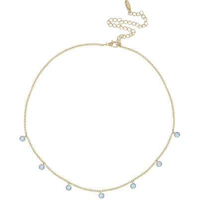 Ettika Blue Opal Disc Station Necklace