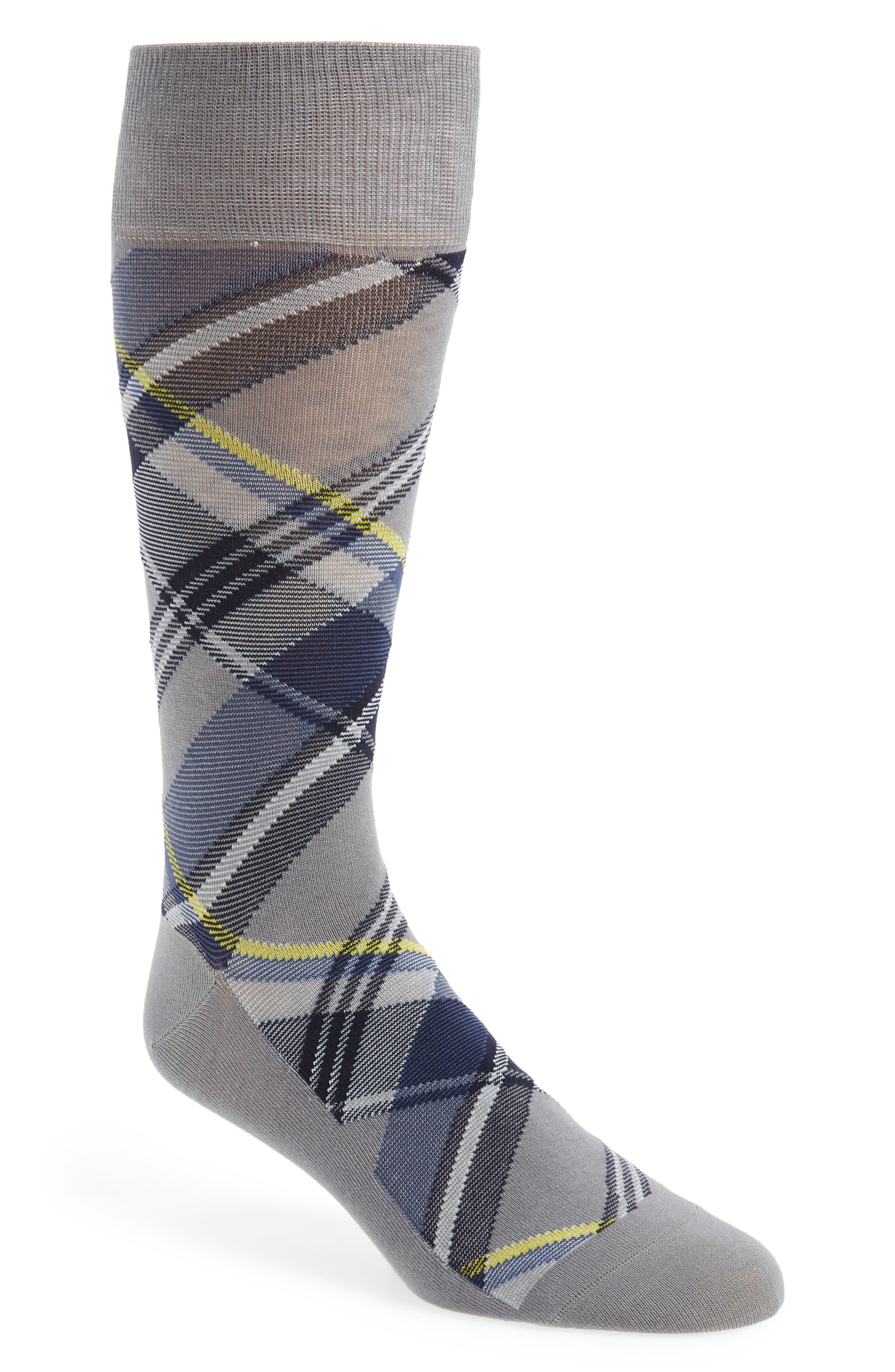 ,                             Plaid Socks,                             Main thumbnail 1, color,                             SHARKSKIN