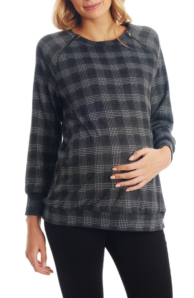 EVERLY GREY Augusta Plaid Maternity/Nursing Pullover, Main, color, GREY PLAID