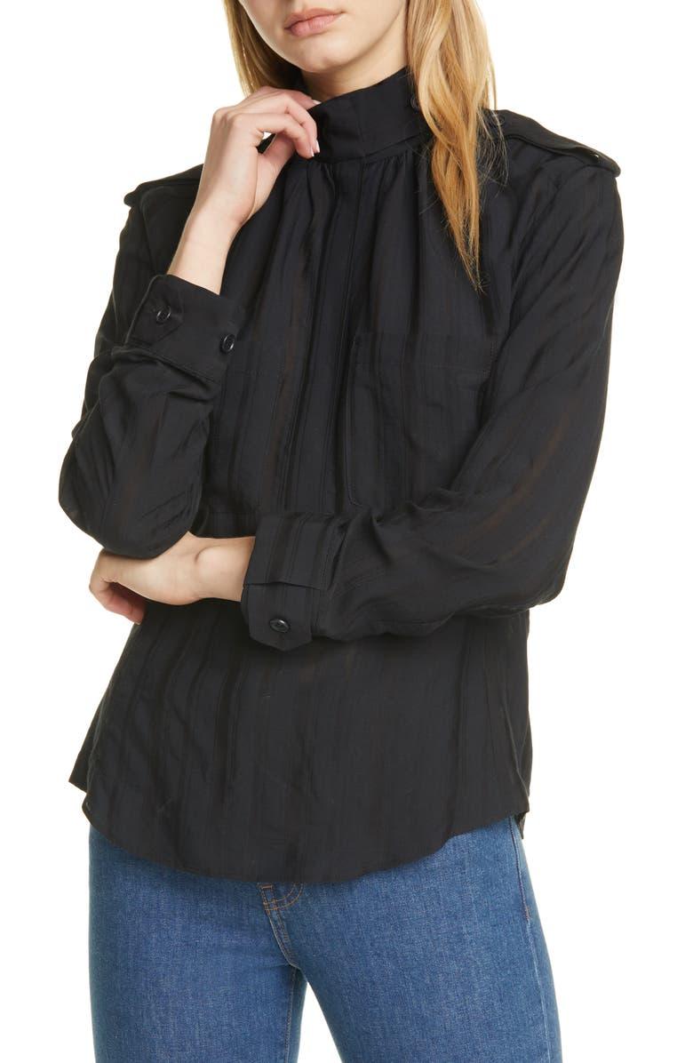 SMYTHE Utilitarian Blouse, Main, color, BLACK SHADOW STRIPE