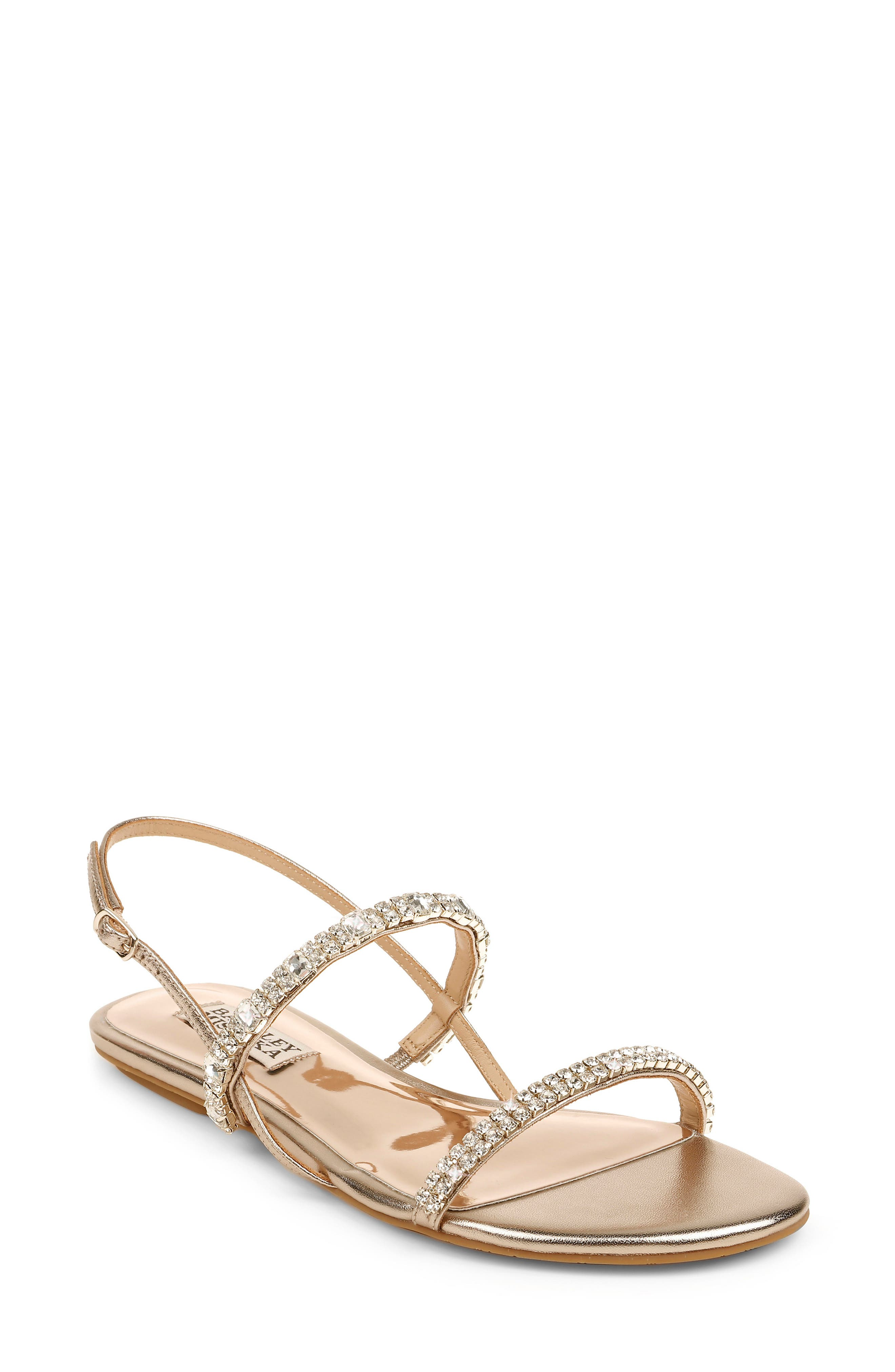 Sparkling crystals twinkle at the straps of an elegant, event-worthy sandal secured by a slim buckle at the ankle. Style Name: Badgley Mischka Zandra Embellished Sandal (Women). Style Number: 6020307 1. Available in stores.