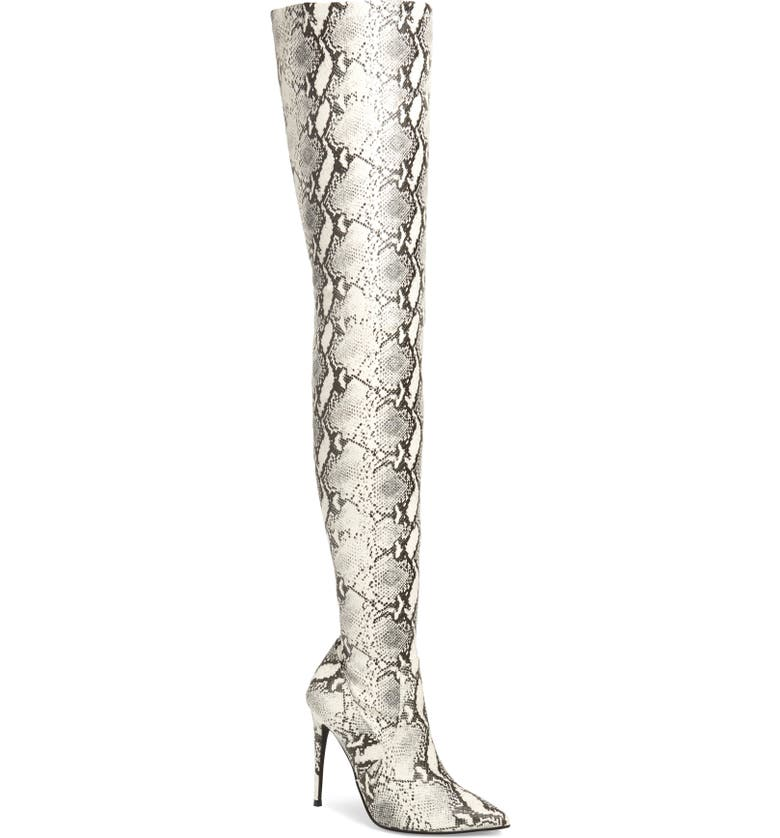 STEVE MADDEN Dominique Thigh High Boot, Main, color, NATURAL SNAKE PRINT