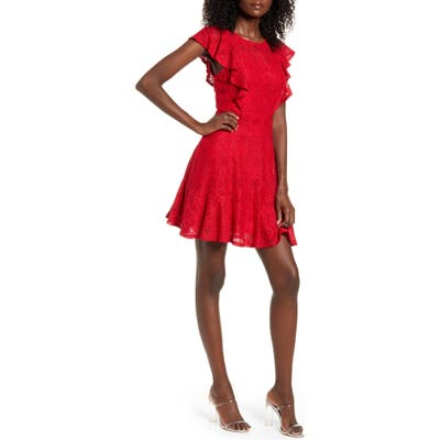 Speechless Ruffle Sleeve Lace Fit & Flare Minidress, Red