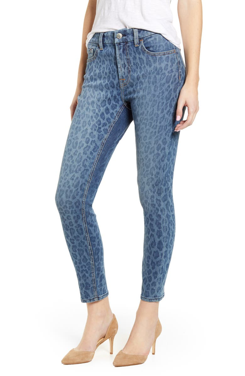 JEN7 BY 7 FOR ALL MANKIND High Waist Ankle Skinny Jeans, Main, color, INDIGO LEOPARD