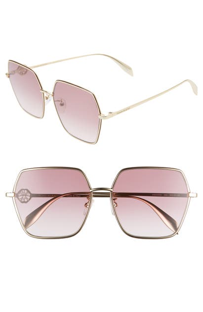 Alexander Mcqueen Sunglasses 60MM SQUARE SUNGLASSES - LIGHT GOLD/ VIOLET GRADIENT