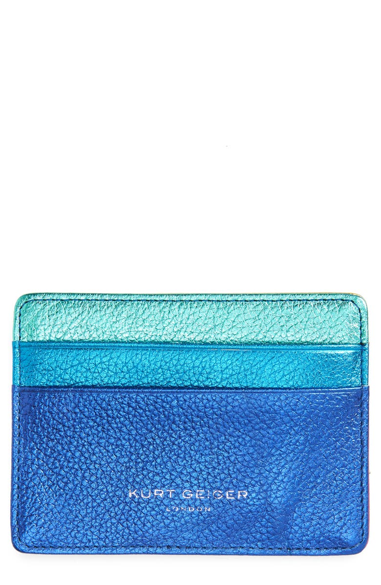 KURT GEIGER LONDON Metallic Leather Card Holder, Main, color, MULTI/ OTHER