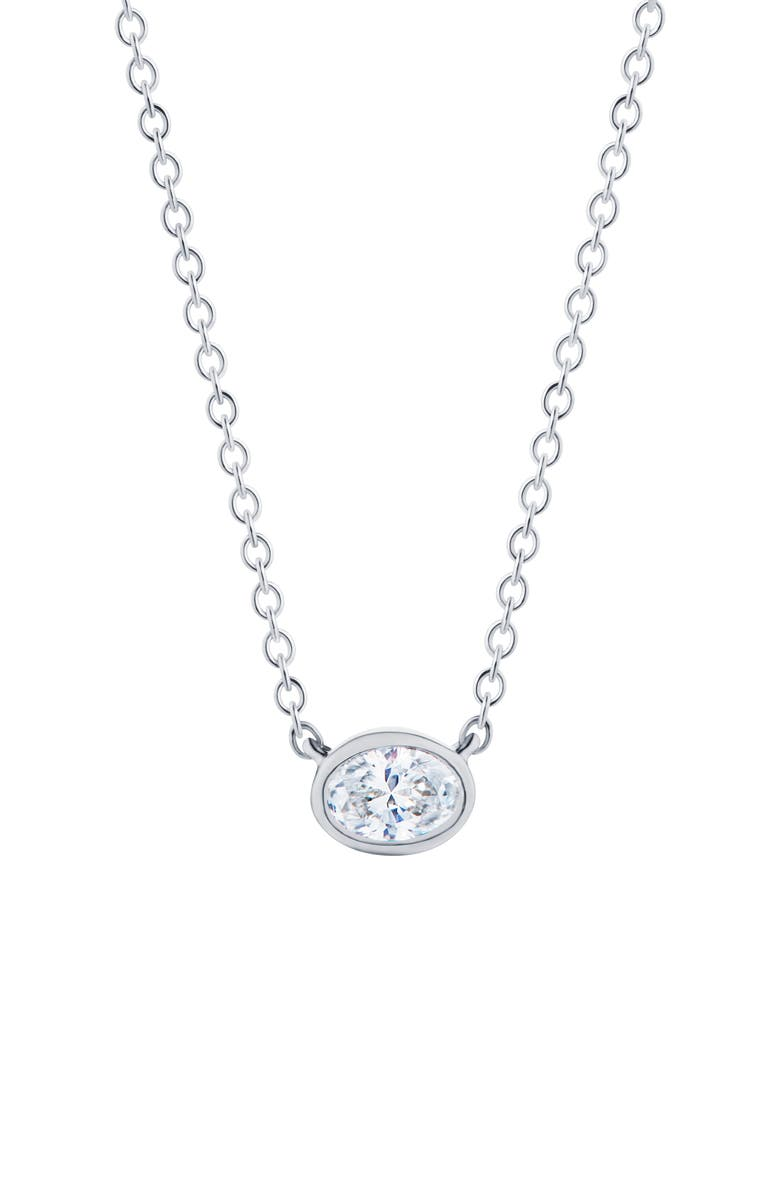 KWIAT Stackable Oval Diamond & 18K Gold Pendant Necklace, Main, color, WHITE GOLD