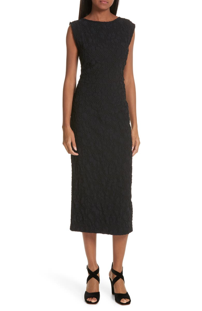 RACHEL COMEY Medina Floral Jacquard Sheath Dress, Main, color, BLACK