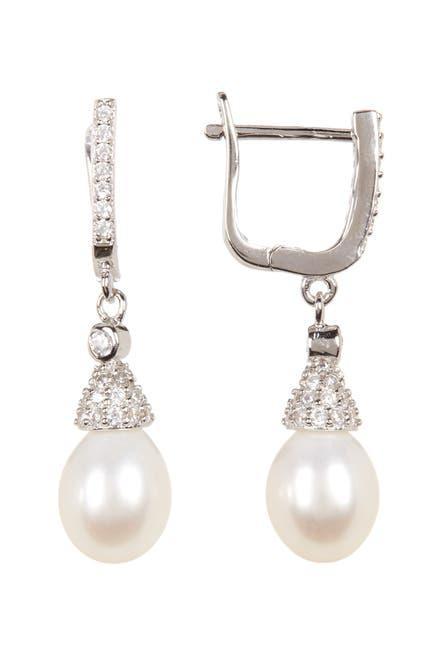 Image of Splendid Pearls 7.5-88mm Freshwater Pearl & CZ Drop Earrings