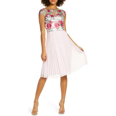 Chi Chi London Lydie Floral Embroidered Cocktail Dress, Pink