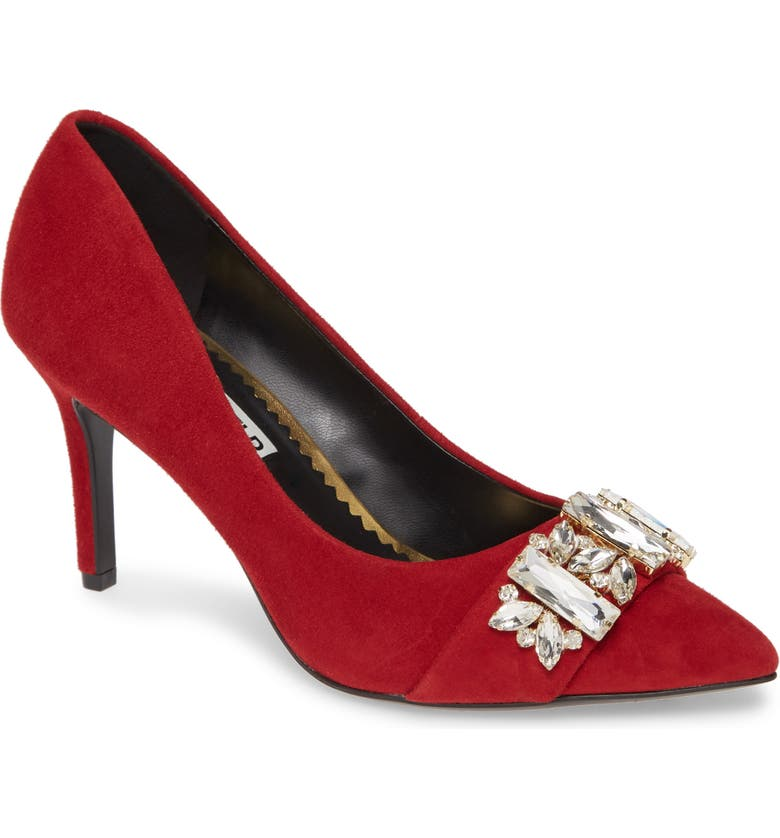 KARL LAGERFELD PARIS Rada Embellished Pump, Main, color, RED SUEDE