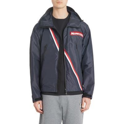 Moncler Trakehner Logo Stripe Hooded Nylon Jacket, Blue