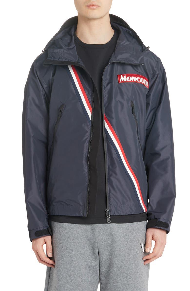 MONCLER Trakehner Logo Stripe Hooded Nylon Jacket, Main, color, NAVY
