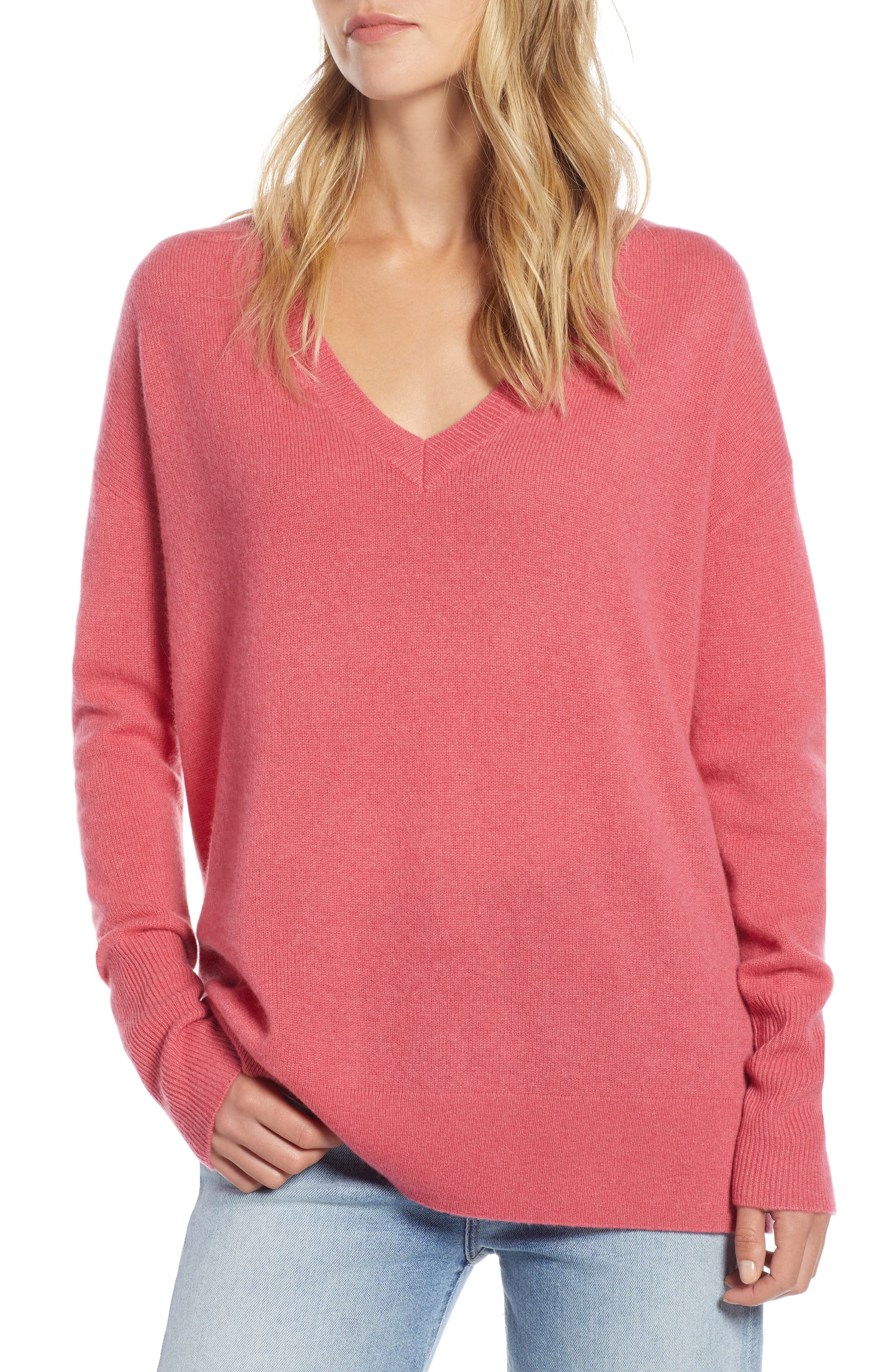 ,                             Relaxed V-Neck Cashmere Sweater,                             Main thumbnail 64, color,                             650