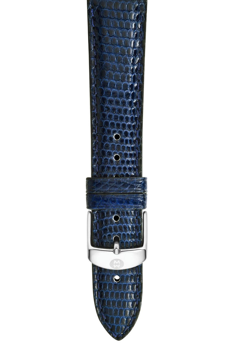 MICHELE 16mm Lizardskin Watch Strap, Main, color, NAVY