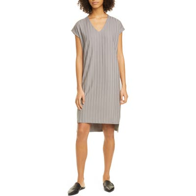 Eileen Fisher V-Neck High/low Ribbed Shift Dress, Grey