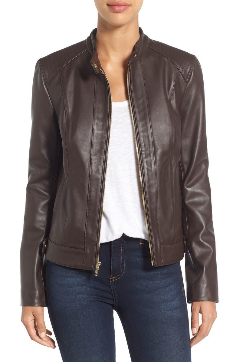 COLE HAAN Leather Moto Jacket, Main, color, DEEP ESPRESSO