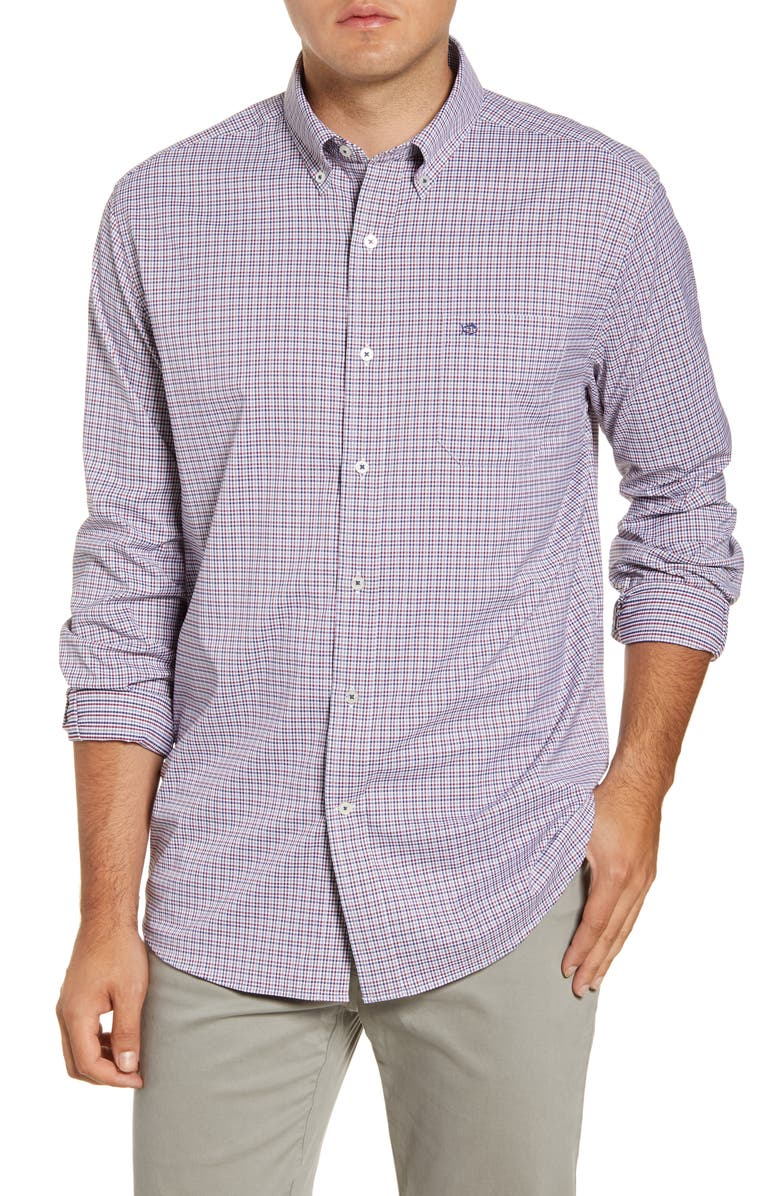 SOUTHERN TIDE Lazeret Regular Fit Gingham Button-Down Performance Shirt, Main, color, 523
