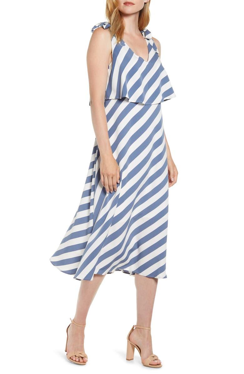 BOBEAU Lisette Tie Strap Ruffle Midi Dress, Main, color, CHAMBRAY