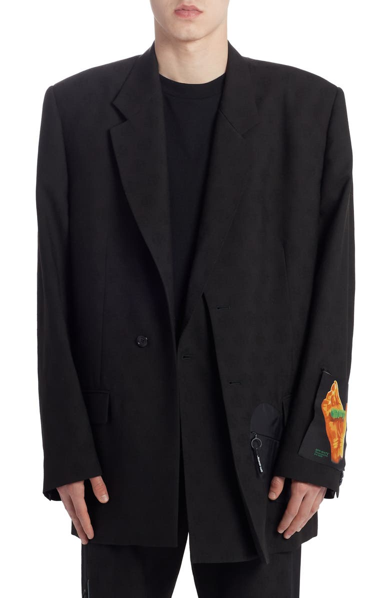 OFF-WHITE Equipment Wool Blazer, Main, color, BLACK MULTICOLOR