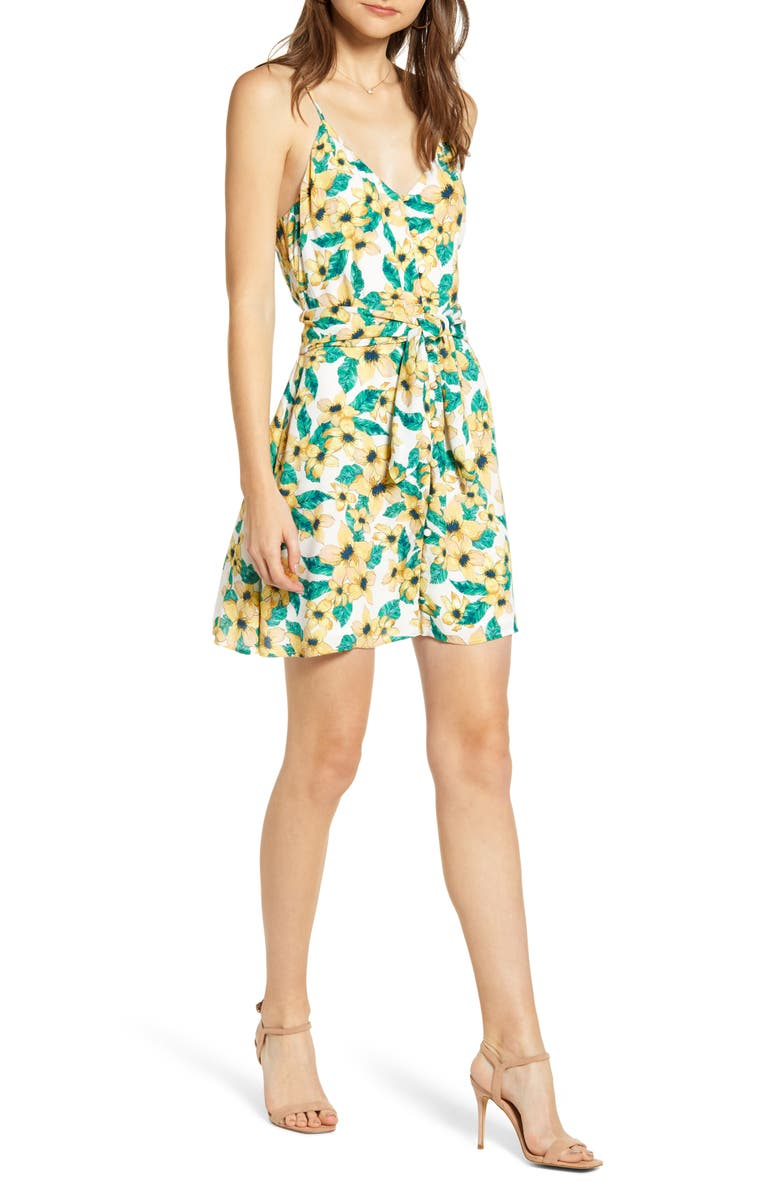 CUPCAKES AND CASHMERE Floral Tie Waist Sundress, Main, color, IVORY