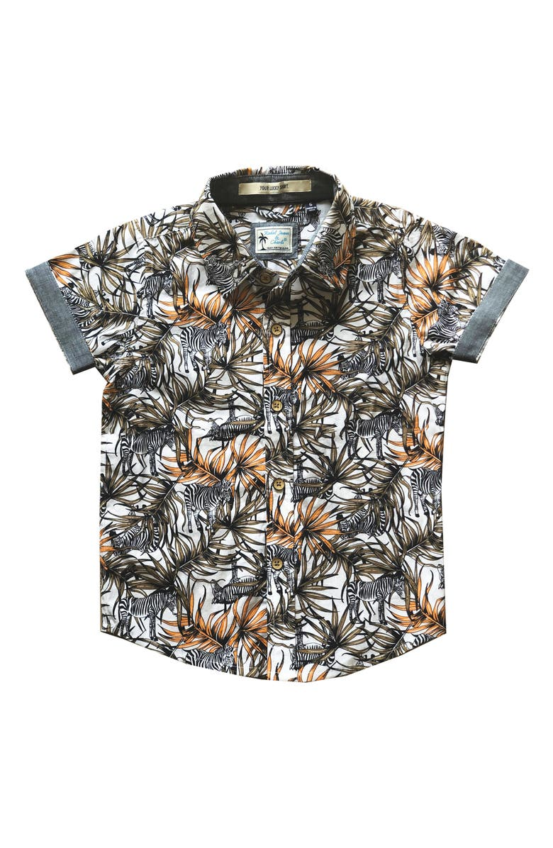 REBEL JAMES & CHARLI Zebra Jungle Print Button-Up Shirt, Main, color, 101