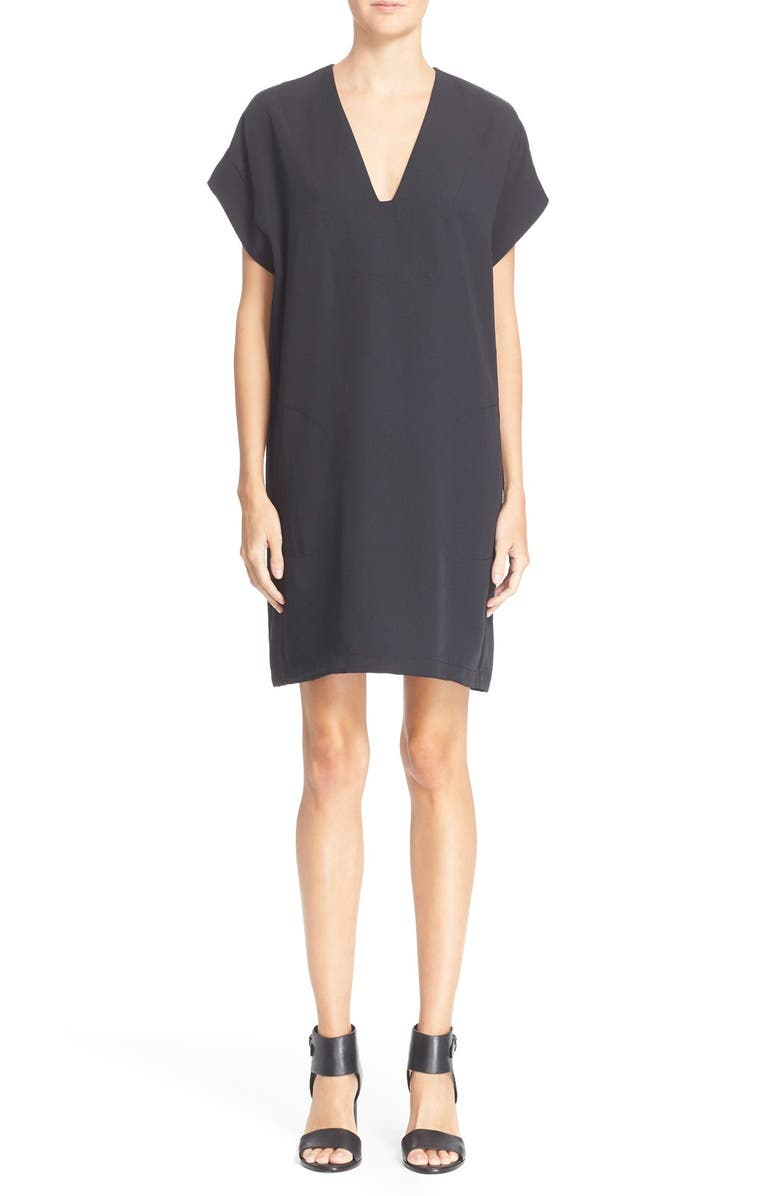 VINCE Roll Sleeve Popover Dress, Main, color, 001