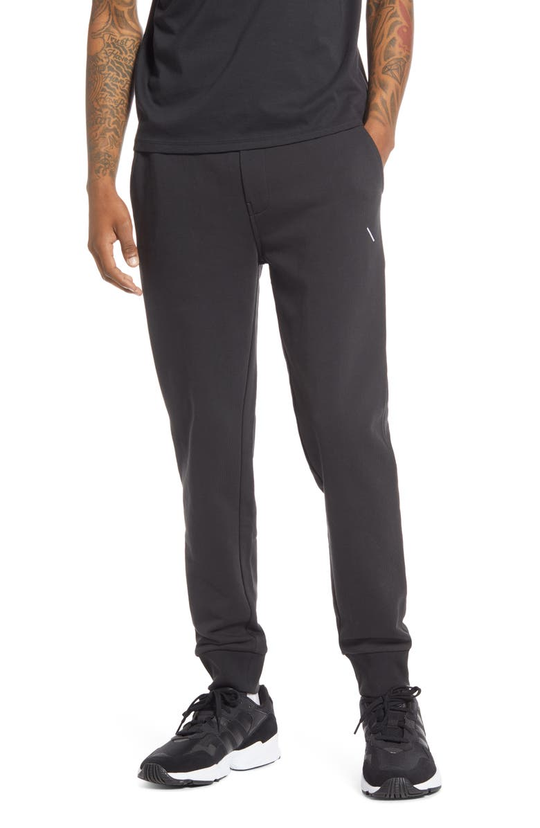 SATURDAYS NYC Ken Embroidered Slash Sweatpants, Main, color, BLACK