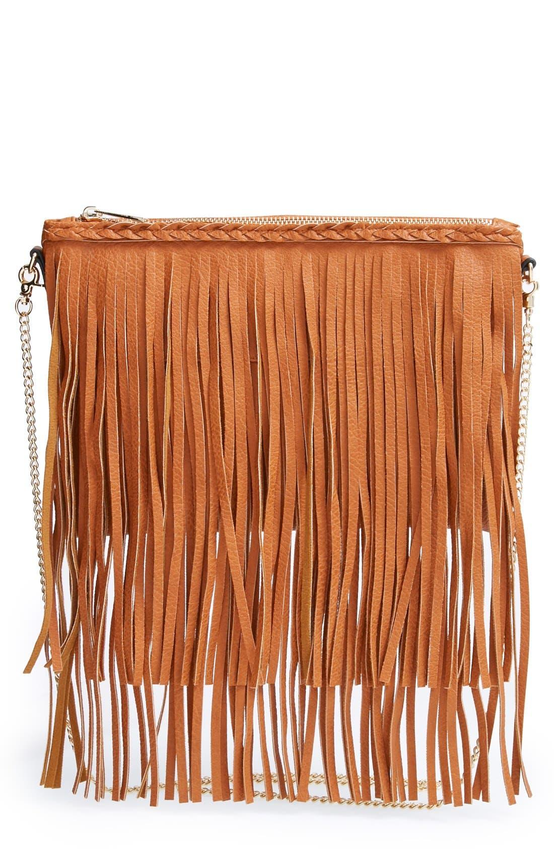 ,                             'Rose' Fringe Faux Leather Convertible Crossbody Bag,                             Main thumbnail 5, color,                             200