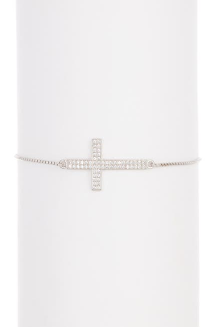 Image of Savvy Cie Sterling Silver Pave CZ Sideways Cross Bracelet