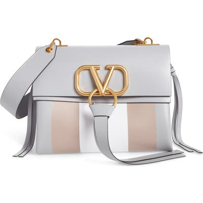 Valentino Garavani Small V-Ring Leather Shoulder Bag - Grey