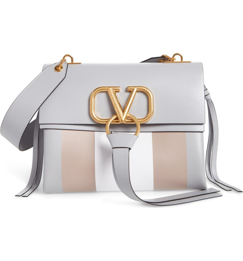 VALENTINO GARAVANI Small V Ring Leather Shoulder Bag