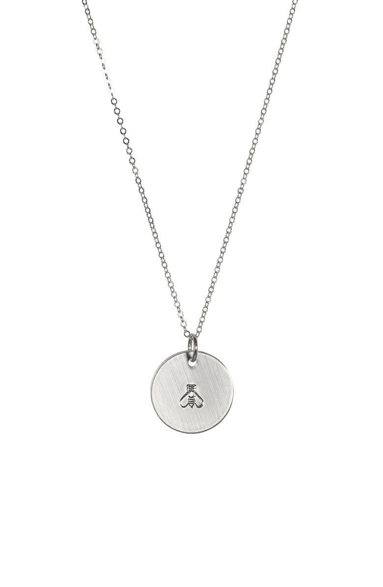 NASHELLE Bee ID Necklace, Main, color, SILVER