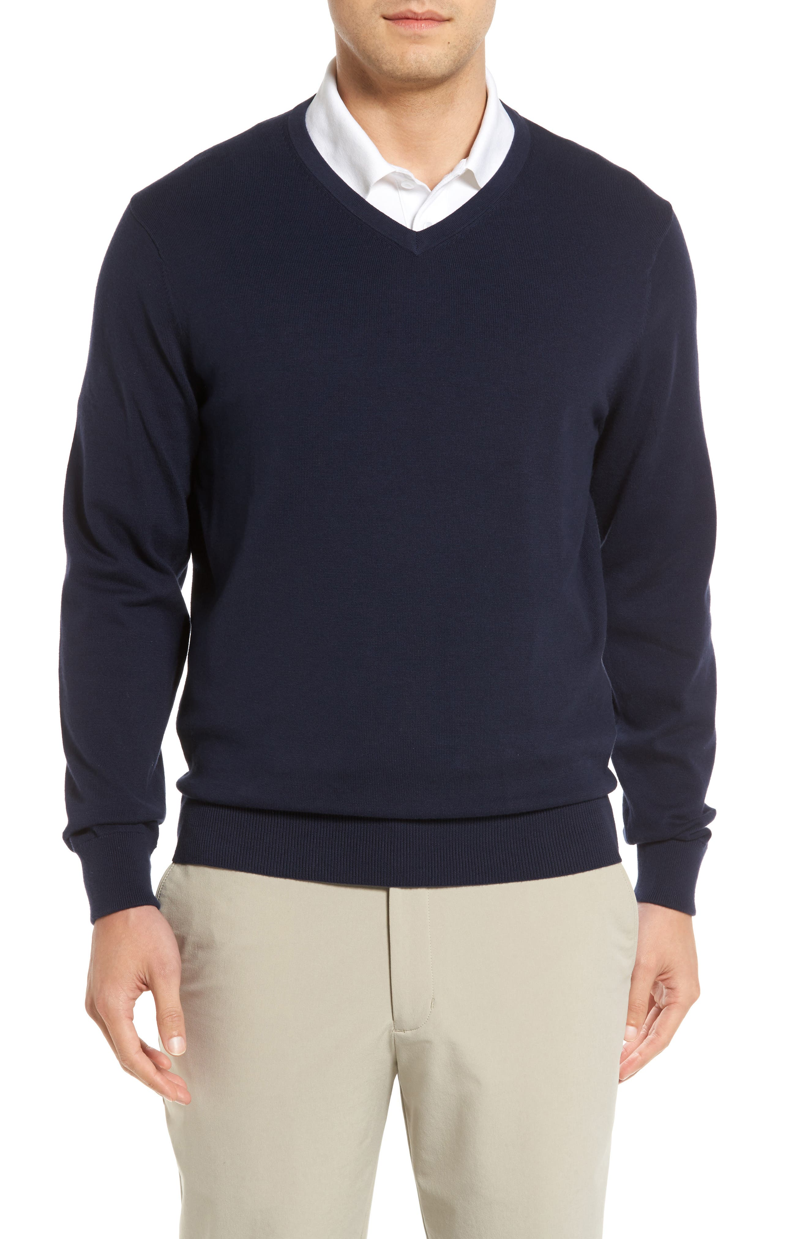This essential layering piece is knit from a fine cotton-jersey blend with linked-seam detailing and ribbing. Style Name: Cutter & Buck Lakemont V-Neck Sweater. Style Number: 5371136. Available in stores.