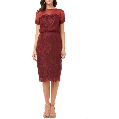 Js Collections Lace Blouson Cocktail Dress, Red