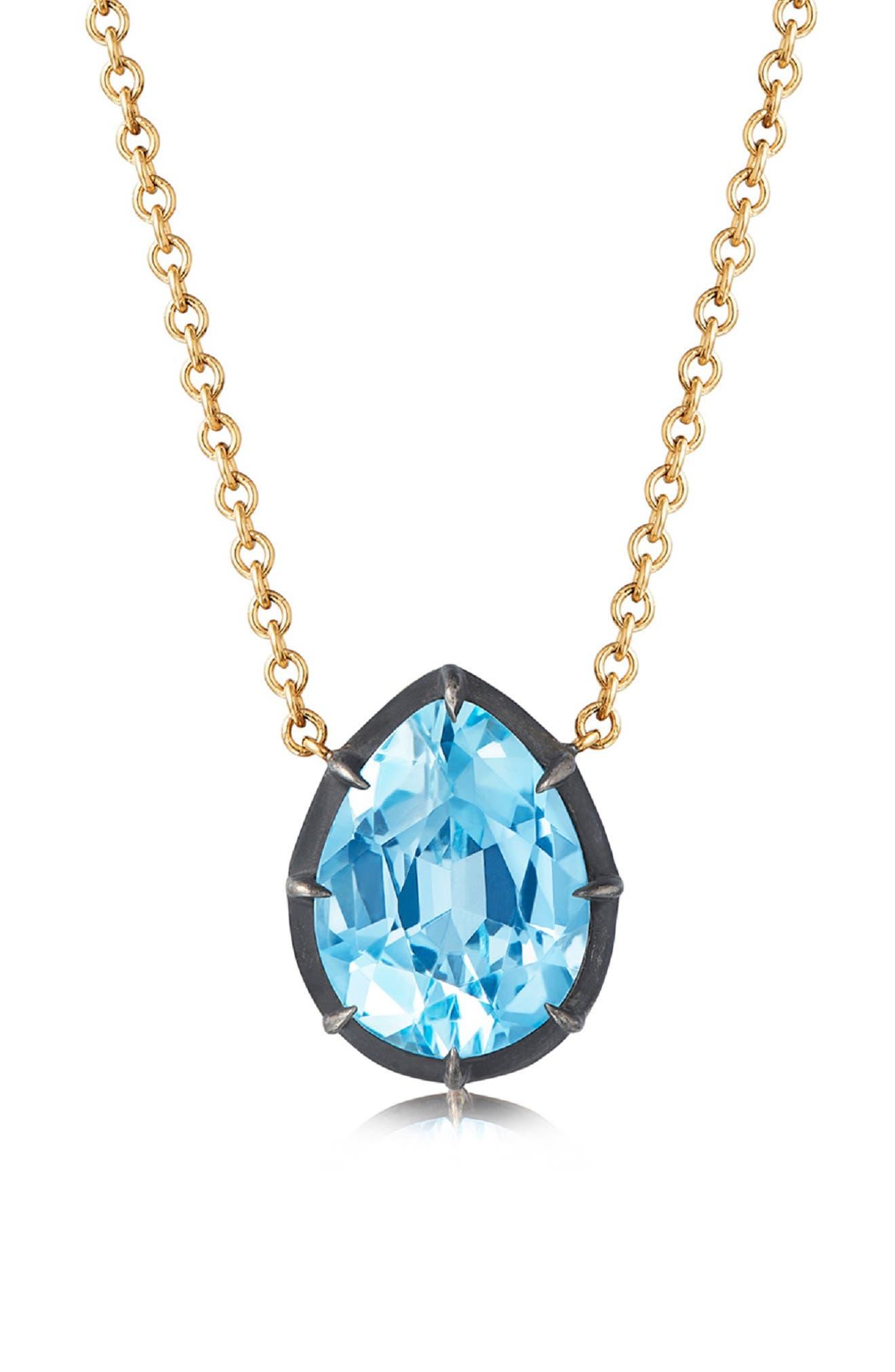 Collet Teardrop Stone Pendant Necklace